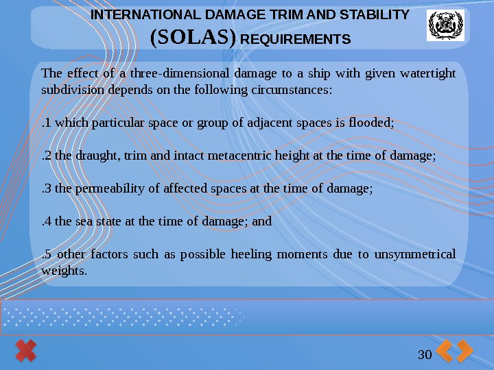 INTERNATIONAL DAMAGE TRIM AND STABILITY (SOLAS) REQUIREMENTS 30 The effect of a three-dimensional damage