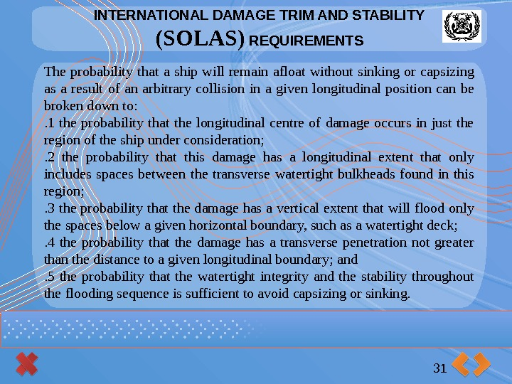 INTERNATIONAL DAMAGE TRIM AND STABILITY (SOLAS) REQUIREMENTS 31 The probability that a ship will