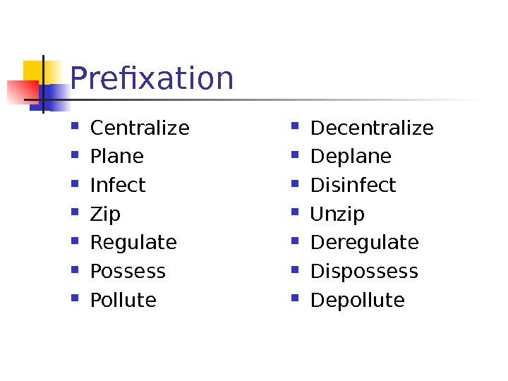 Prefixation Centralize Plane Infect Zip  Regulate Possess Pollute  Decentralize Deplane Disinfect
