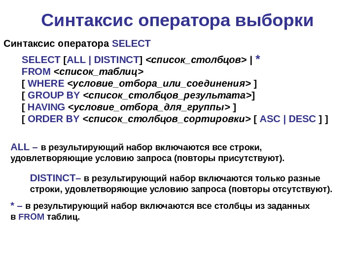 Синтаксис оператора выборки SELECT  [ ALL | DISTINCT ]  список_столбцов