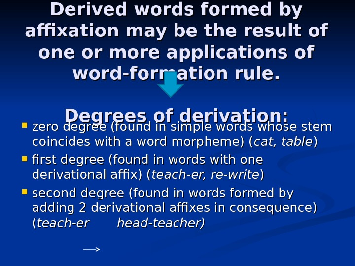 Derived words formed by affixation may be the result of one or more applications