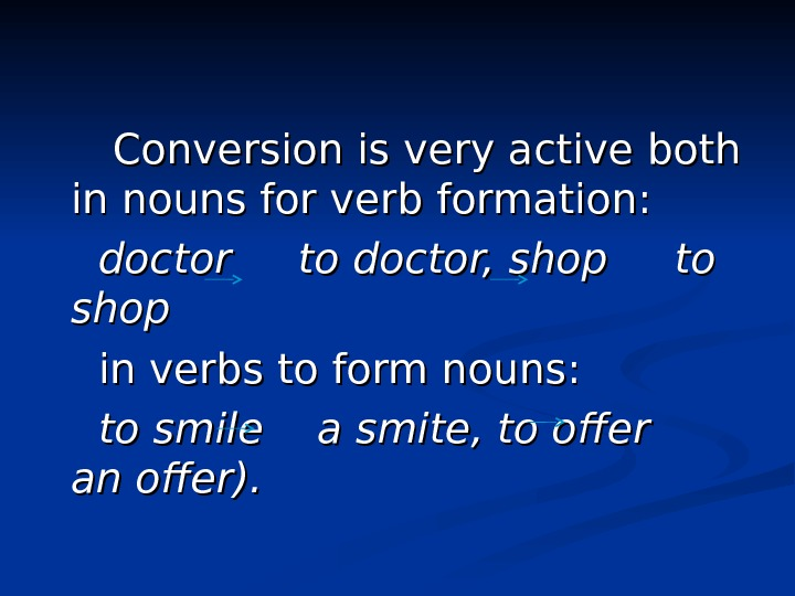 Conversion is very active both in nouns for verb formation: