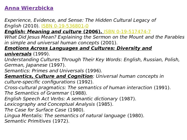 Anna Wierzbicka Experience, Evidence, and Sense: The Hidden Cultural Legacy of English (2010). ISBN