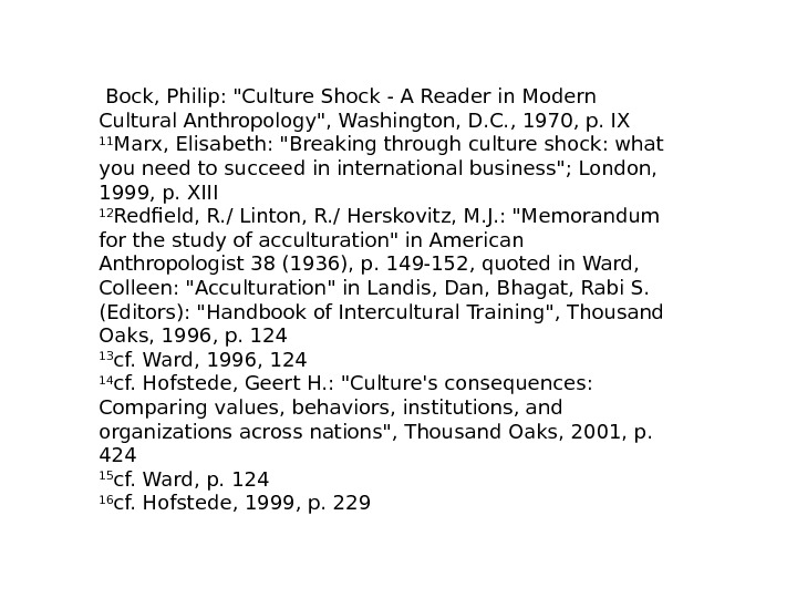 Bock, Philip: Culture Shock - A Reader in Modern Cultural Anthropology, Washington, D.