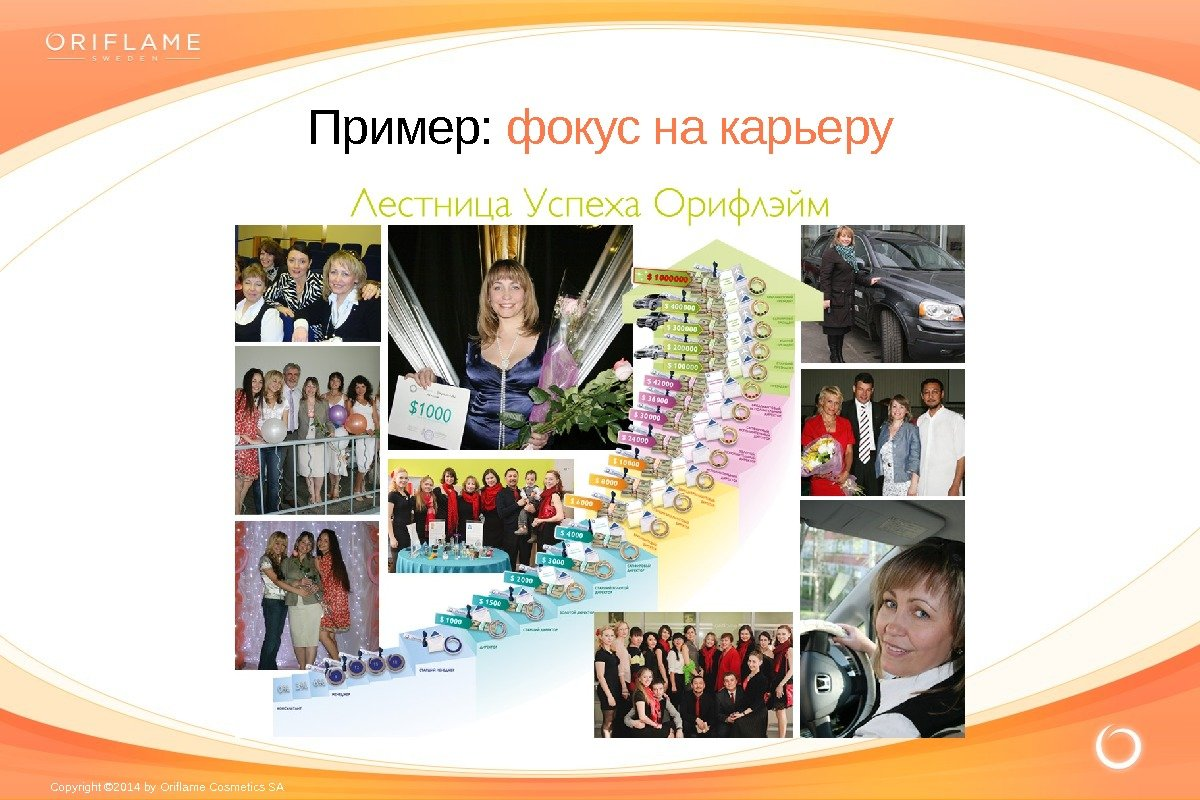 Copyright © 2014 by Oriflame Cosmetics SA Пример:  фокус на карьеру