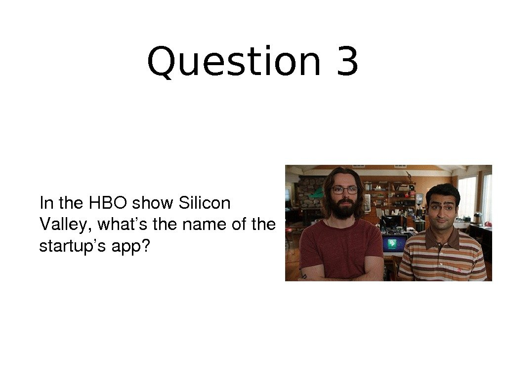 Question 3 Inthe. HBOshow. Silicon Valley, what'sthenameofthe startup'sapp?