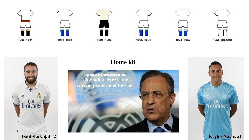 Dani Karvajal #2 Keylor Navas #1 Home kit Spanish businessman Florentino Pérez is the current president