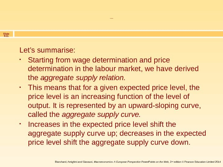 Slide 9. 11 Blanchard, Amighini and Giavazzi,  Macroeconomics: A European Perspective Power. Points on the
