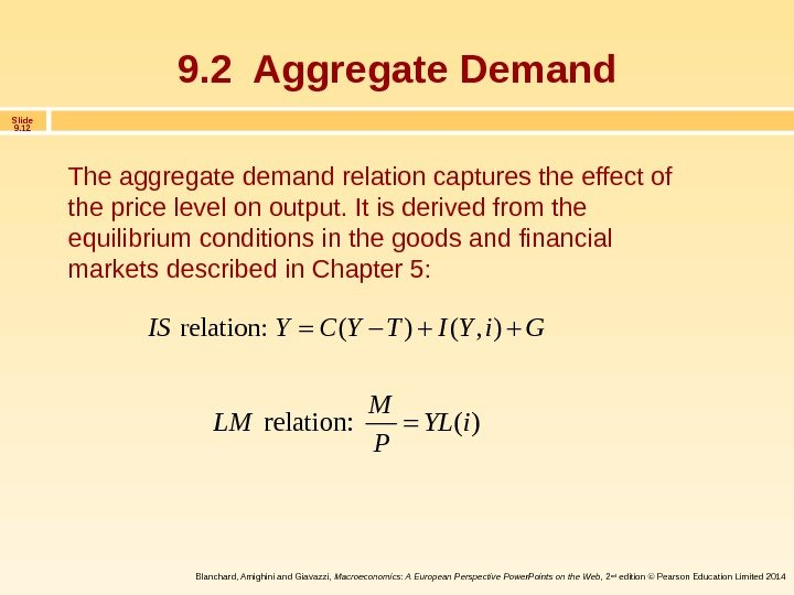 Slide 9. 12 Blanchard, Amighini and Giavazzi,  Macroeconomics: A European Perspective Power. Points on the