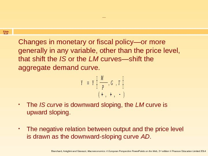 Slide 9. 14 Blanchard, Amighini and Giavazzi,  Macroeconomics: A European Perspective Power. Points on the