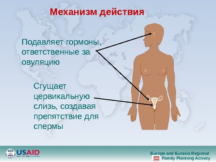 Europe and Eurasia Regional Family Planning Activity. Механизм действия Сгущает цервикальную слизь ,  создавая препятствие