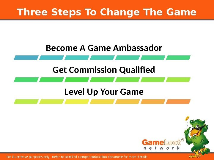 Three Steps To Change The Game For illustrative purposes only.  Refer to Detailed Compensation Plan