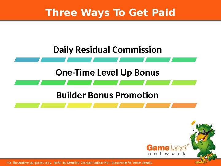Three Ways To Get Paid For illustrative purposes only.  Refer to Detailed Compensation Plan document