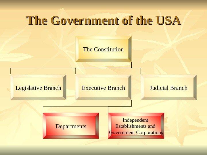 The Government of the USA The Constitution Legislative Branch Executive Branch Judicial Branch Departments Independent Establishments