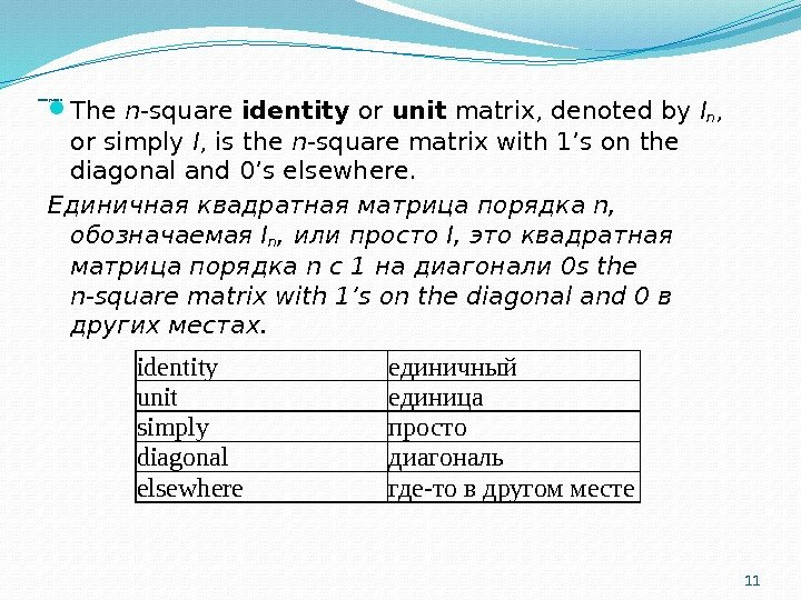 Identity Matrix The n -square identity or unit matrix, denoted by I n ,