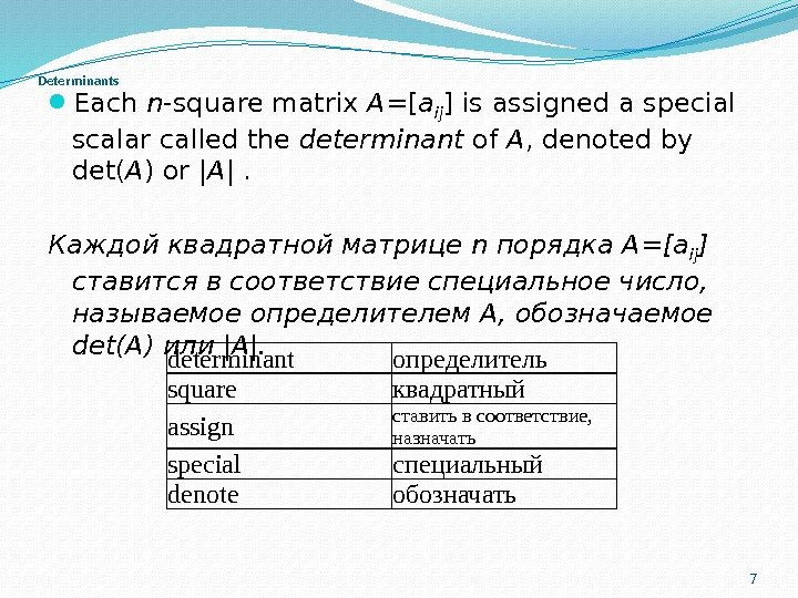 Determinants Each n -square matrix A =[ a ij ] is assigned a special scalar called