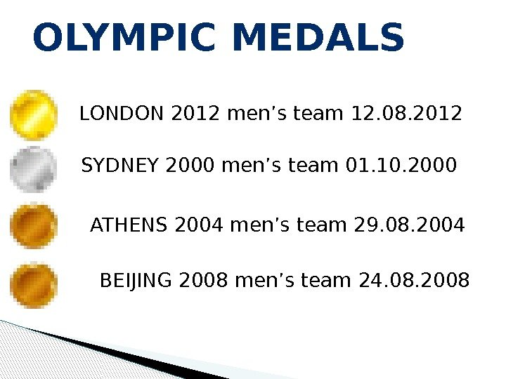 OLYMPIC MEDALS LONDON 2012 men's team 12. 08. 2012 SYDNEY 2000 men's team 01. 10. 2000