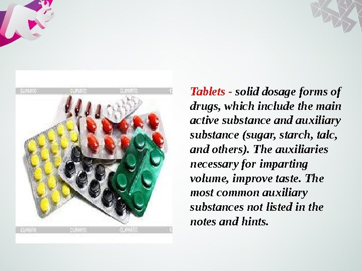 Tablets - solid dosage forms of drugs, which include the main active substance and auxiliary substance
