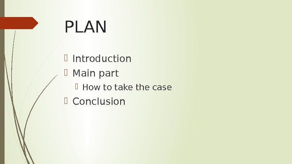 PLAN Introduction Main part How to take the case Conclusion