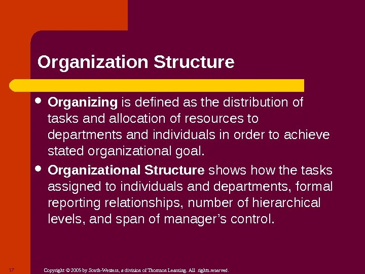 Copyright © 2005 by South-Western, a division of Thomson Learning. All rights reserved. Organization Structure Organizing