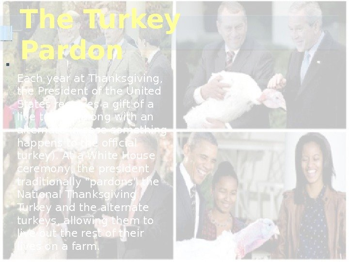 The Turkey Pardon Each year at Thanksgiving,  the President of the United States receives a