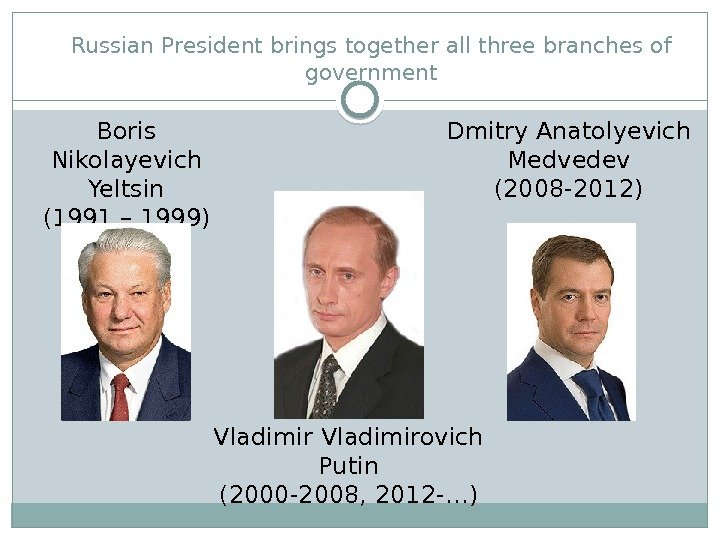 Russian President brings together all three branches of government Boris Nikolayevich Yeltsin (1991 – 1999) Dmitry