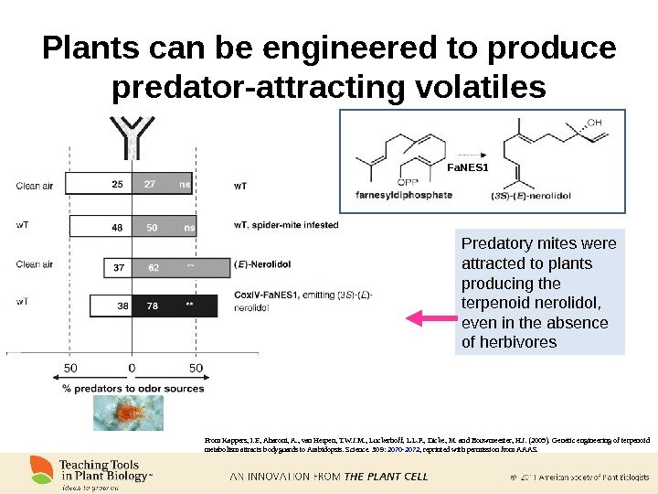 Plants can be engineered to produce predator-attracting volatiles From Kappers, I. F. , Aharoni, A. ,