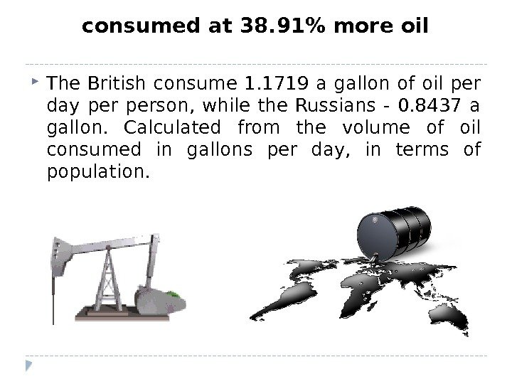 consumed at 38. 91 more oil The British consume 1. 1719 a gallon of oil per