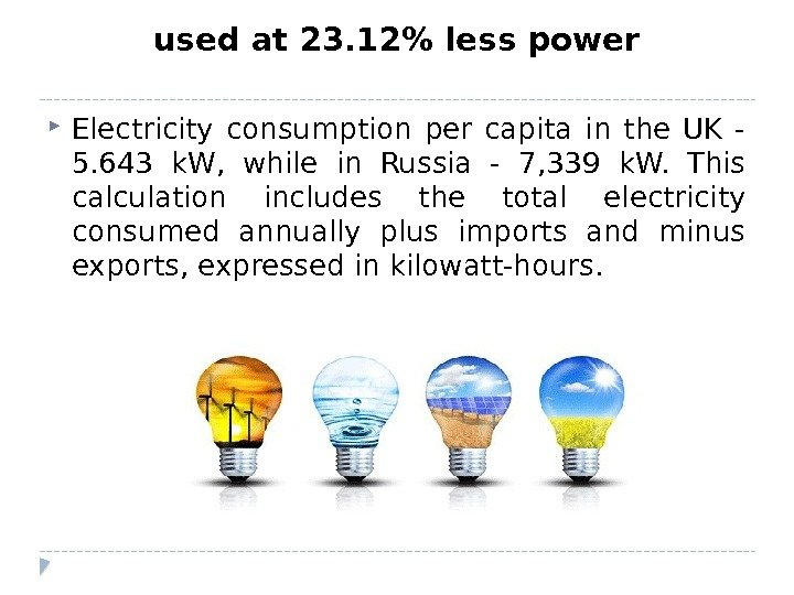 used at 23. 12 less power Electricity consumption per capita in the UK - 5. 643