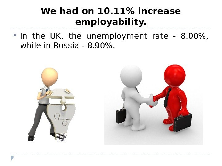 We had on 10. 11 increase employability.  In the UK,  the unemployment rate -