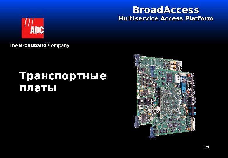 39 Транспортные платы Broad. Access Multiservice Access Platform