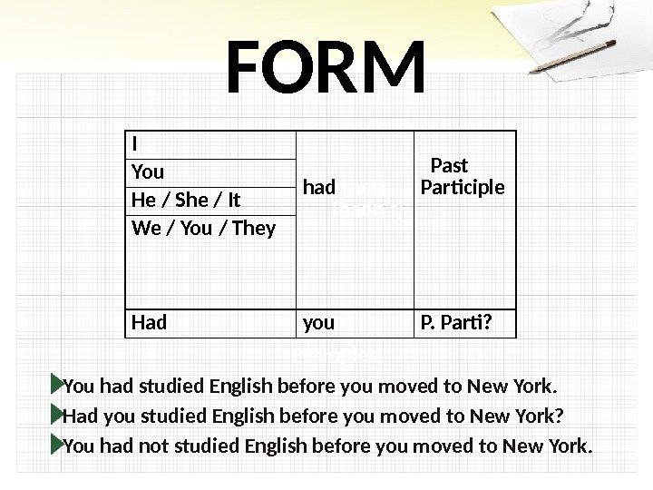 FORM Examples: You had studied English before you moved to New York.  Had you studied