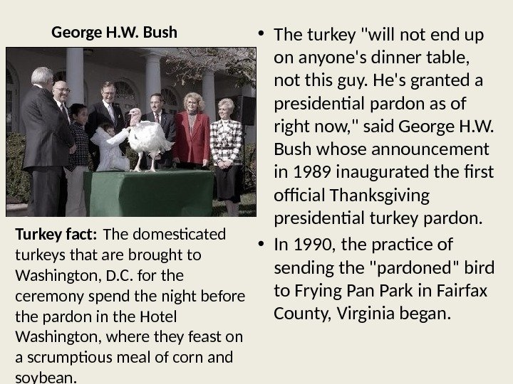 George H. W. Bush • The turkey will not end up on anyone's dinner table,