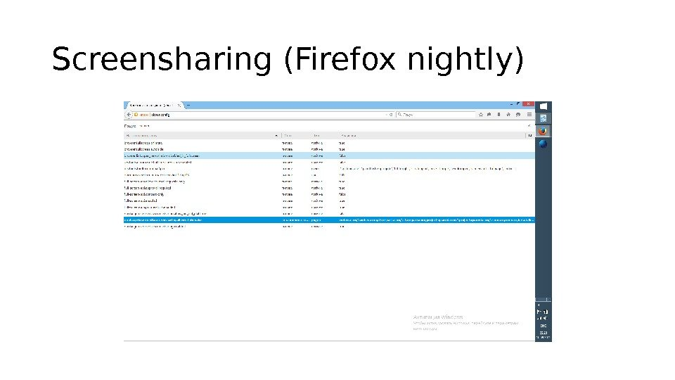 Screensharing (Firefox nightly)