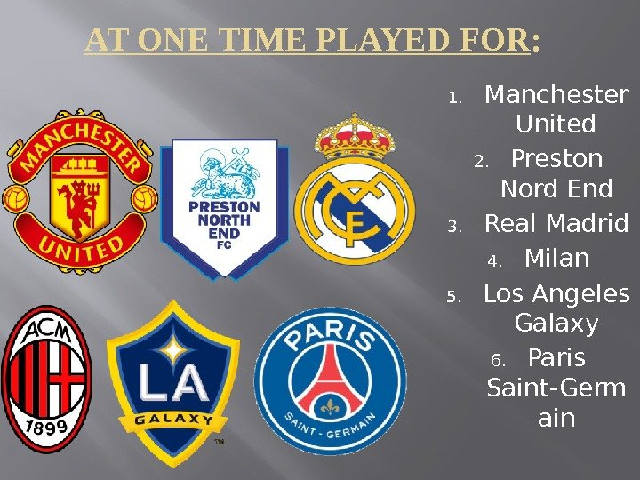 AT ONE TIME PLAYED FOR :  1. Manchester United 2. Preston Nord End 3. Real