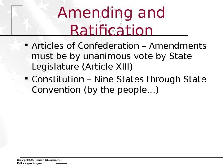 Amending and Ratification Articles of Confederation – Amendments must be by unanimous vote by State Legislature