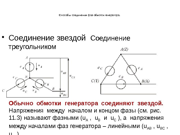 Схема обмоток генератора соединенных треугольником