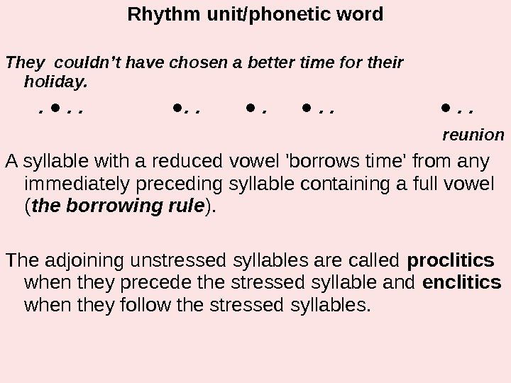 Rhythm unit/phonetic word They couldn't have chosen a better time for their   holiday.