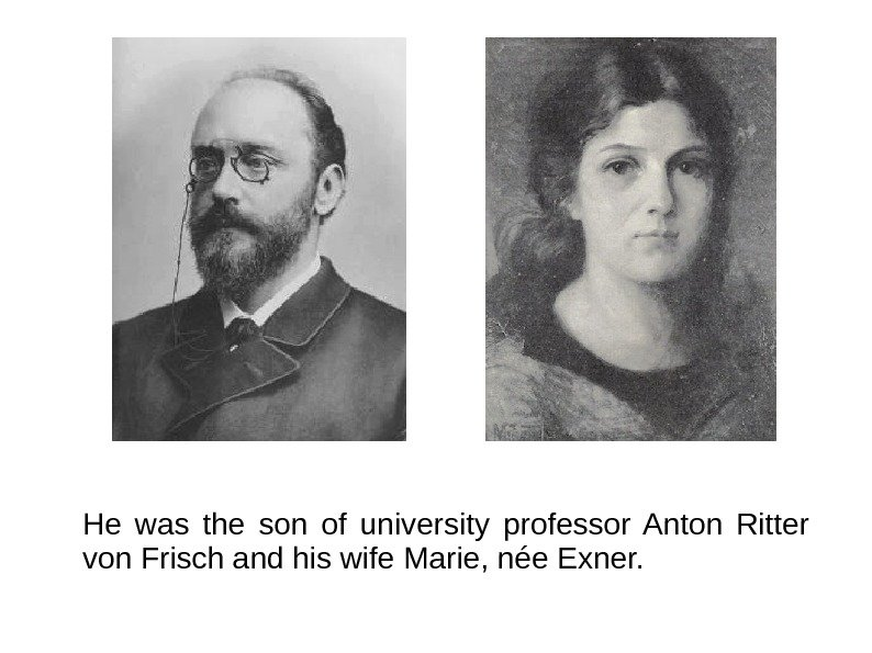 He was the son of university professor Anton Ritter von Frisch and his wife
