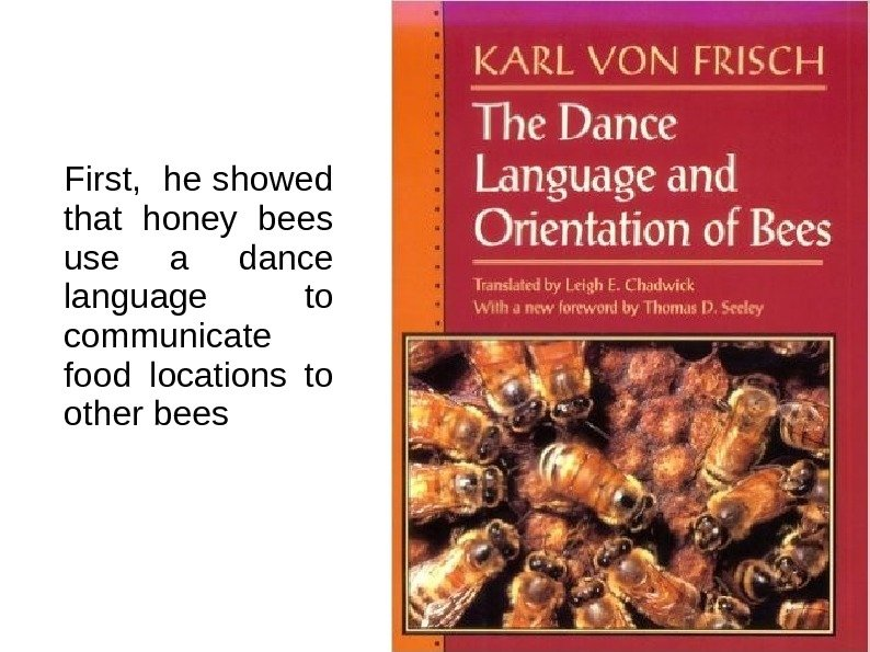 First,  he showed that honey bees use a dance language to communicate food
