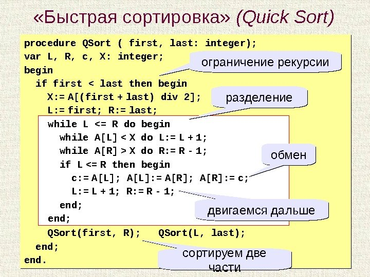 21 «Быстрая сортировка»  ( Quick Sort ) procedure QSort ( first, last: integer); var L,