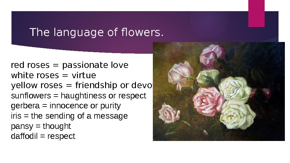 The language of flowers. red roses = passionate love white roses = virtue yellow roses =