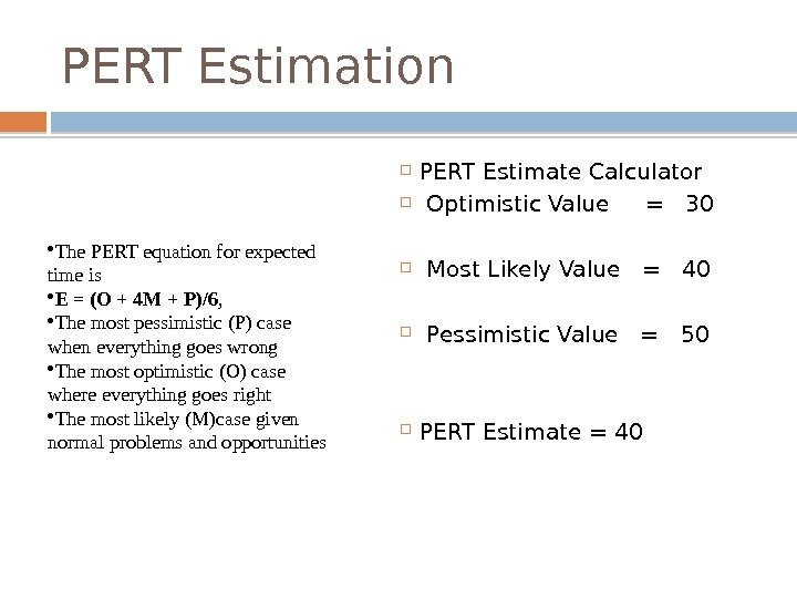 PERT Estimation PERT Estimate Calculator  Optimistic Value =  30  Most Likely Value