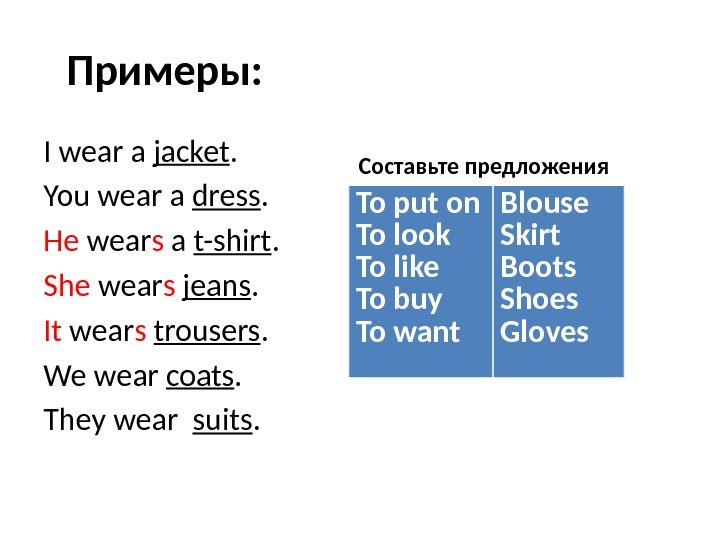 Примеры: I wear a jacket. You wear a dress. He wear s a t-shirt. She wear