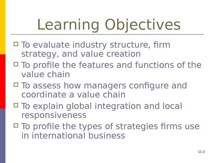 11 - 2 Learning Objectives To evaluate industry structure, firm strategy, and value creation