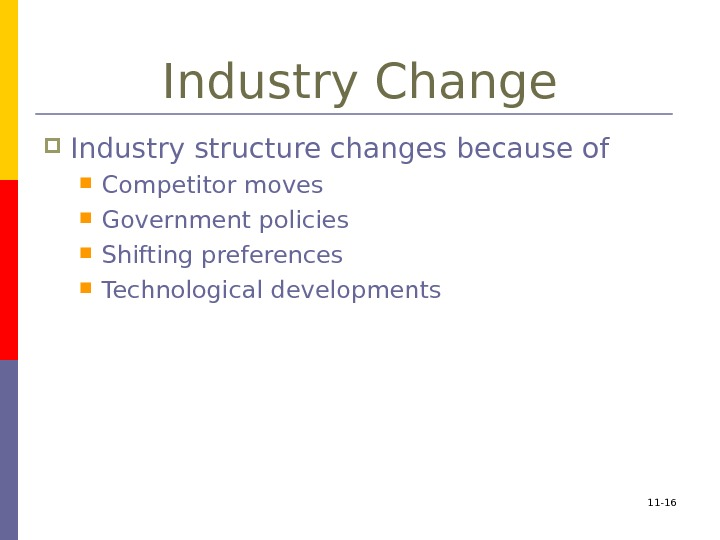 11 - 16 Industry Change Industry structure changes because of Competitor moves Government policies