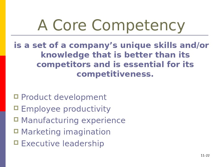 A Core Competency is a set of a company's unique skills and/or knowledge that