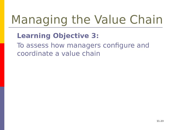 11 - 23 Managing the Value Chain Learning Objective 3:  To assess how