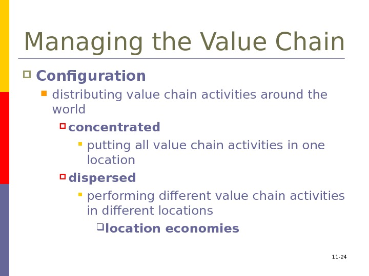 11 - 24 Managing the Value Chain Configuration  distributing value chain activities around