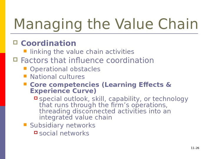 11 - 26 Managing the Value Chain Coordination  linking the value chain activities